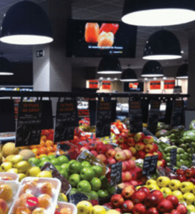The produce section of a retail store with Airis LED lighting