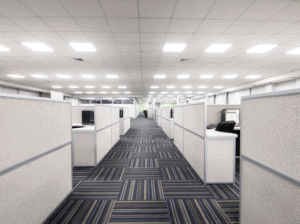 Office cubicles with Airis LED lighting