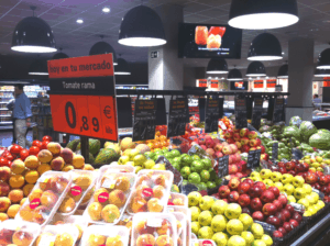 The produce section of a grocery store with Airis LED lighting
