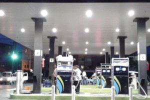 Gas station with Airis Smart LED lights